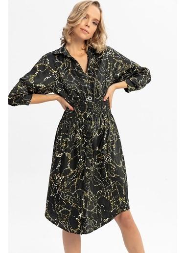 Tiffany&Tomato Desenli Beli Gipeli Uzun Gömlek Elbise-Vizon Siyah
